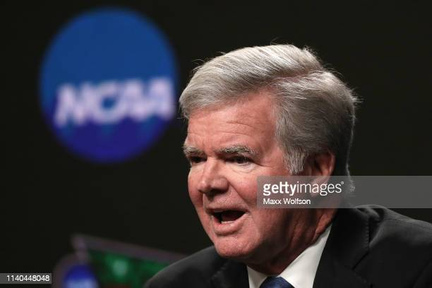 President of the National Collegiate Athletic Association Mark Emmert speaks to the media ahead of the Men's Final Four at U.S. Bank Stadium on April...