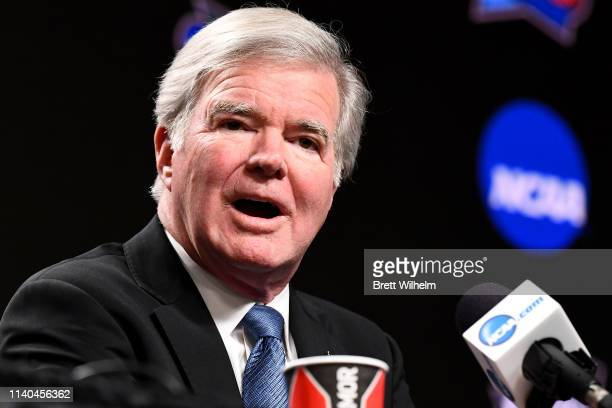 President of the National Collegiate Athletic Association Mark Emmert speaks to the media ahead of the Men's Final Four at US Bank Stadium on April...