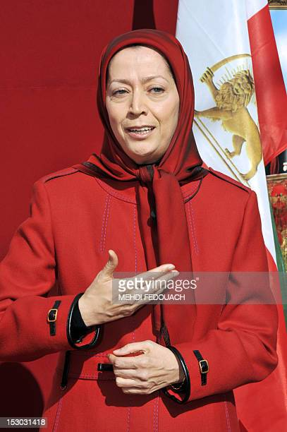 President of the National Council of Resistance of Iran and MujahedeeneKhalq leader Maryam Radjavi speaks during a meeting on September 29 in...