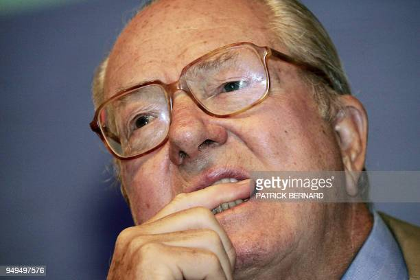 President of the National Front JeanMarie Le Pen participates on August 27 in the Summer University of the National Front which is held for three...