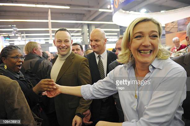 President of the National Front Party Marine Le Pen Visits Salon de l'Agriculture at Parc des Expositions Porte de Versailles on February 25 2011 in...
