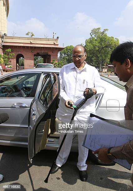 President of the Nationalist Congress Party Sharad Pawar arrives at Parliament during Budget session on March 18 2015 in New Delhi India The coal...