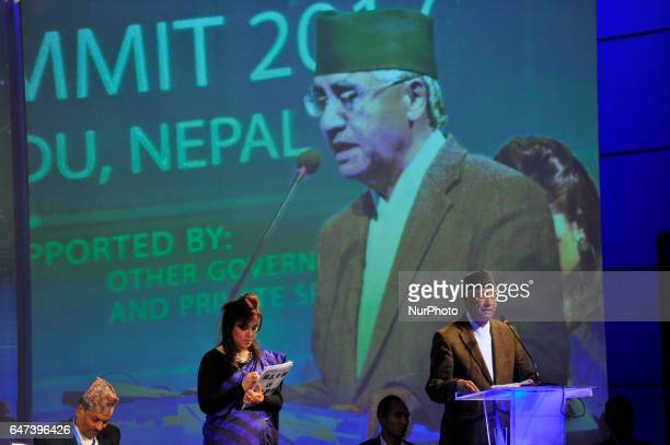 President of the Nepali Congress Sher Bahadur Deuba speaks during the Nepal Investment Summit 2017 at Kathmandu Nepal on Thursday March 02 2017