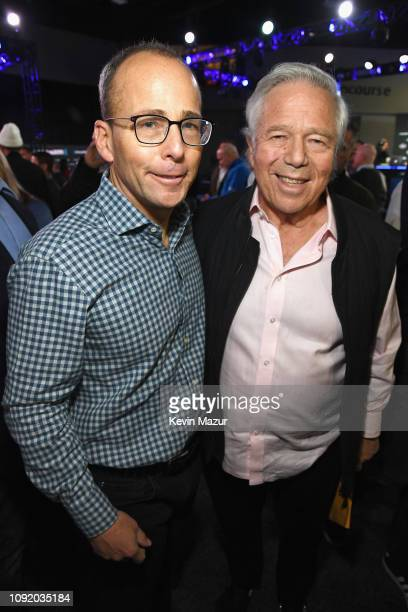 President of the New England Patriots Jonathan Kraft and Chief Executive Officer of the New England Patriots Robert Kraft attend SiriusXM at Super...