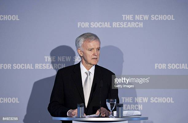 President of the New School For Social Research Bob Kerrey talks during the presentation of honorary degree of the New School to German Chancellor...
