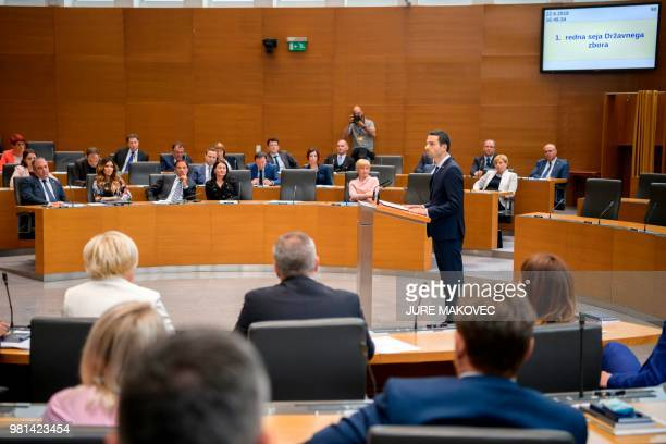 President of The New Slovenian Party Matej Tonin addresses members of National Assembly after being elected as the speaker of the parliament during...