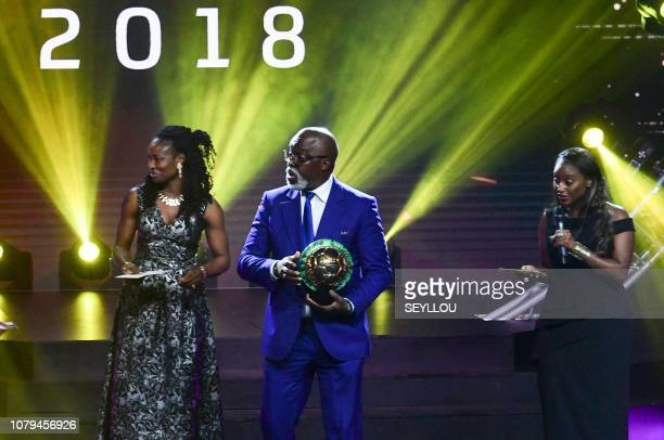 President of the Nigeria Football Federation Amaju Pinnick on stage during the CAFAWARD 2018 ceremony in Dakar Senegal on January 8 2019