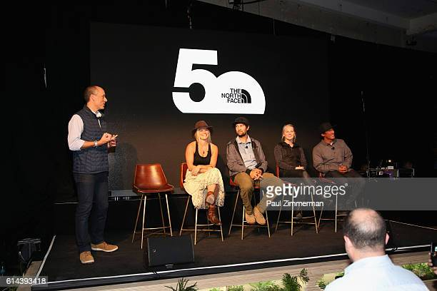 President of The North Face Todd Spaletto speaks with Angel Collinson Renan Ozturk Emily Harrington and Jimmy Chin at The North Face event...