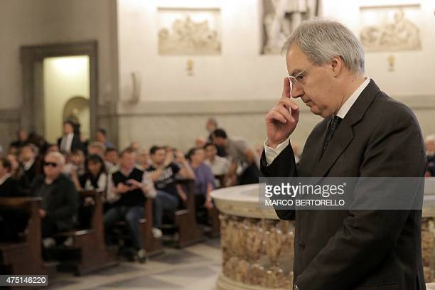 President of the of the Italian Lega Serie A Maurizio Beretta attends a mass at Gran Madre di Dio church in Turin on May 29 to mark the 30th...