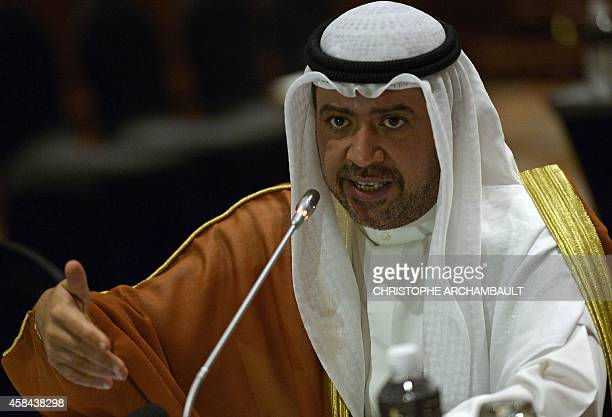 President of the Olympic Council of Asia and head of the Association of National Olympic Committees Sheikh Ahmad Fahad AlSabah addresses reporters...