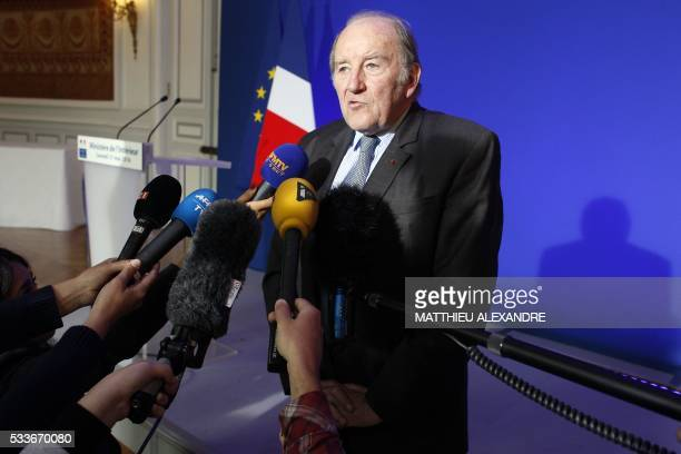 President of the organisation of the Euro 2016 Jacques Lambert answers journalists' questions following a meeting with the French Interior Minister...