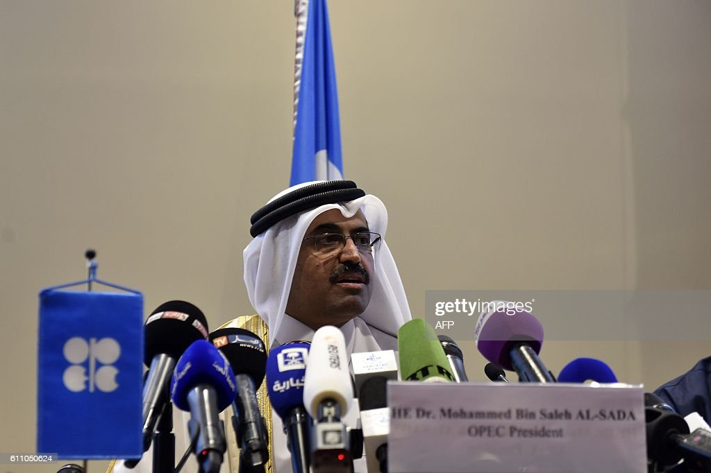 President of the Organization of Petroleum Exporting Countries (OPEC) and Qatar's Energy Minister, Mohammed bin Saleh al-Sada speaks during a press conference after an informal meeting between OPEC members on September 28, 2016 in the Algerian capital Algiers. / AFP / Ryad Kramdi