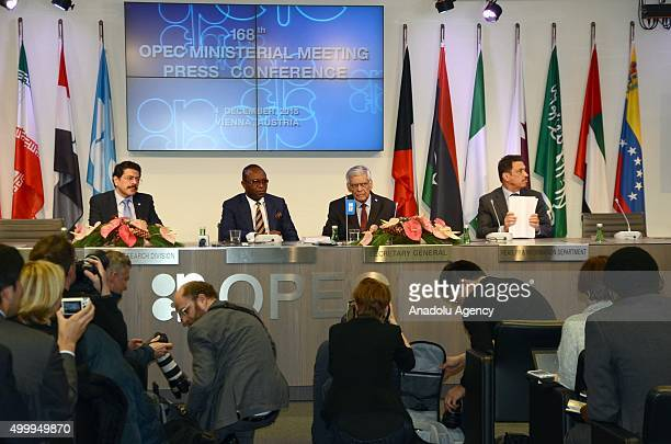 President of the Organization of the Petroleum Exporting Countries Emmanuel Ibe Kachikwu and Secretary General of OPEC Abdalla Salem elBadri attend...