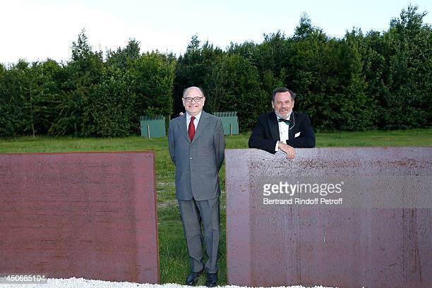 President of the Palais de Tokyo Jean de Loisy and Louis Benech attend the private tour and dinner of the Lee Ufan's Exhibition at Chateau de...