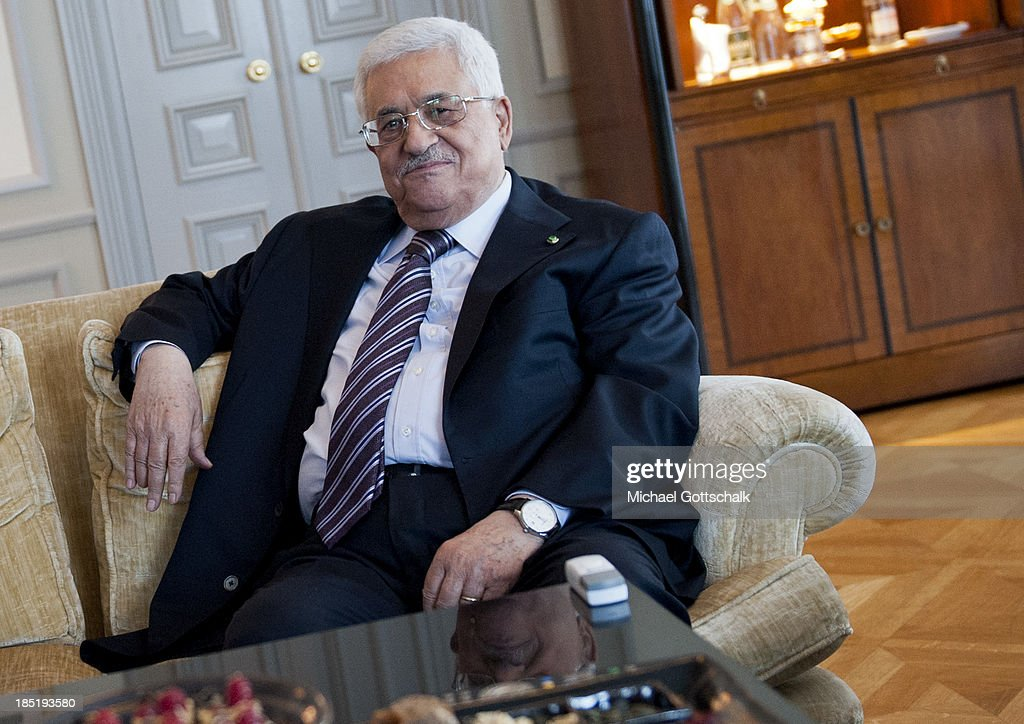 President of the Palestinian National Authority Mahmoud Abbas during a bilateral Talk with German Foreign Minister Guido Westerwelle (FDP) on October 18, 2013 in Hotel Adlon in Berlin, Germany. Abbas is currently in Europe partly to lobby the European Union against providing Israel funds for housing expansion in occupied territories.