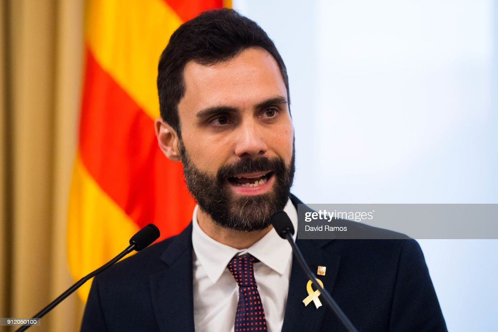President of the Parliament of Catalonia, Roger Torrent delivers a speech at the Parliament of Catalonia on January 30, 2018 in Barcelona, Spain. The President of the Parliament of Catalonia, Roger Torrent has called off the parliamentary session scheduled for today to form a new regional goverment. The Spanish Constitutional Court ruled on Saturday that Carles Puigdemont, who were proposed by the pro-indepenence parties as the candidate to be the new President of Catalonia, has to be present to be elected as the new region's President. Carles Puigdemont is wanted in Spain on possible charges of rebellion and sedition and according to the High Court, he will be arrested if he returns from Brussels.