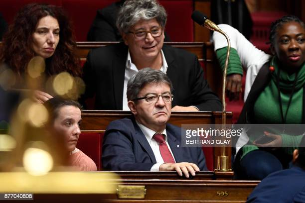 President of the parliamentary group of French leftist movement 'La France insoumise' JeanLuc Melenchon is pictured during a session of Questions to...
