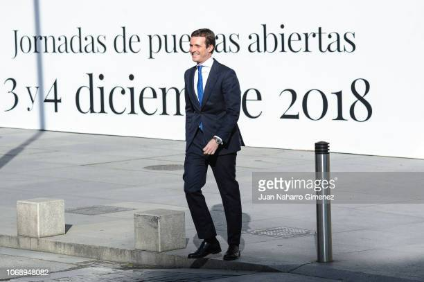 President of the People's Party Pablo Casado attends a celebration marking 40 years of democracy in Spain at the Spanish Congress on December 6 2018...