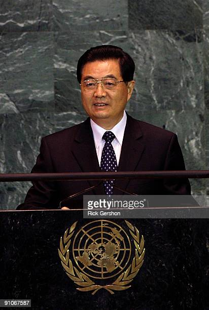 President of the People's Republic of China Hu Jintao addresses the United Nations General Assembly at the UN headquarters on September 23 2009 in...