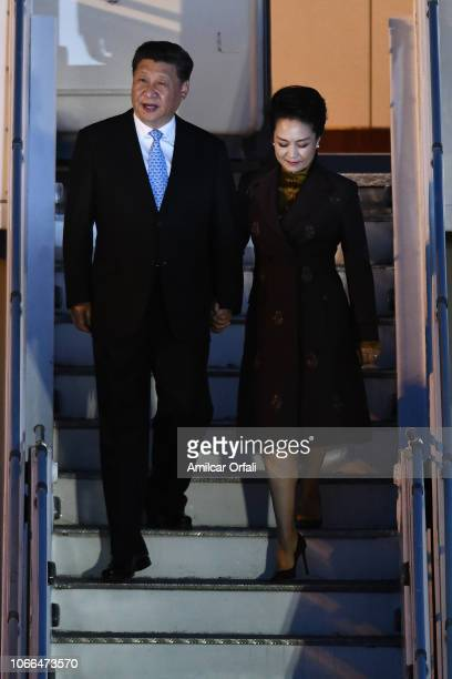 President of the People's Republic of China Xi Jinping and his wife Peng Liyuan arrive to Buenos Aires for G20 Leaders' Summit 2018 at Ministro...