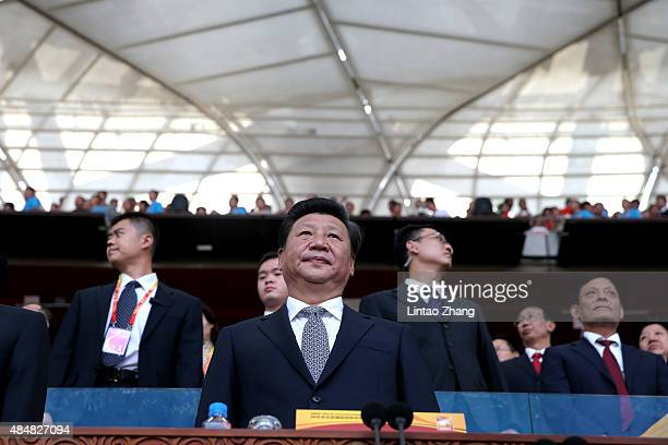 President of the People's Republic of China Xi Jinping during the Opening Ceremony for the 15th IAAF World Athletics Championships Beijing 2015 at...