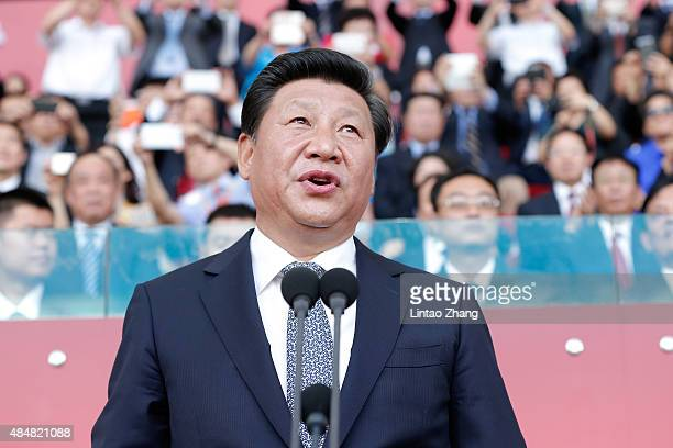 President of the People's Republic of China Xi Jinping speaks during the Opening Ceremony for the 15th IAAF World Athletics Championships Beijing...