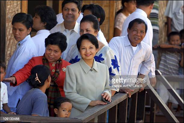 President Of The Philippines Gloria Macapagal Arroyo Visits Badgios People On February 26Th, 2002 In Zamboanga, Philippines.