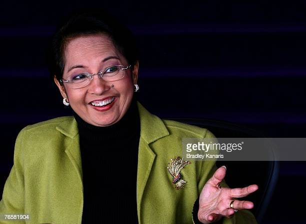 President of the Philippines Her Excellency Gloria Macapagal-Arroyo speaks during day one of the APEC Economic Leaders Meetings at the The Sydney...