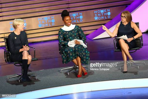 President of the Planned Parenthood Federation of America Cecile Richards author Chimamanda Ngozi Adichie and journalist Katie Couric speak on stage...