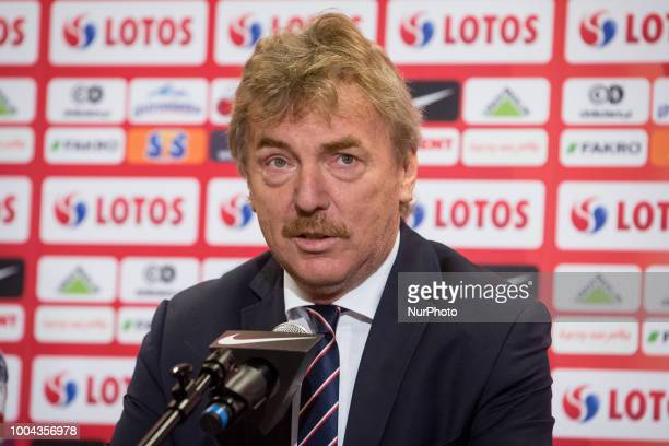 President of the Polish Football Association Zbigniew Boniek during a press conference at National Stadium in Warsaw Poland on 23 July 2018 Jerzy...