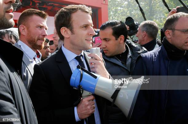 President of the political movement 'En Marche !' and French presidential election candidate Emmanuel Macron meets strike employees of Whirlpool on...