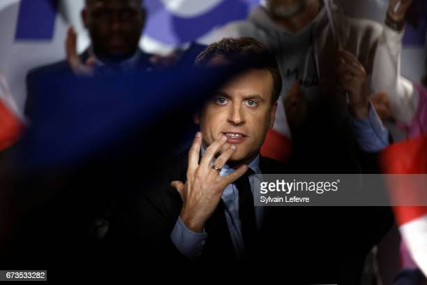 President of the political movement 'En Marche !' and french presidential election candidate Emmanuel Macron delivers a speech during a campaign...