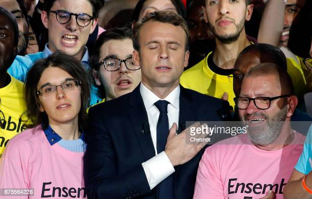 President of the political movement 'En Marche ' and French presidential election candidate Emmanuel Macron gestures during a campaign rally on May...