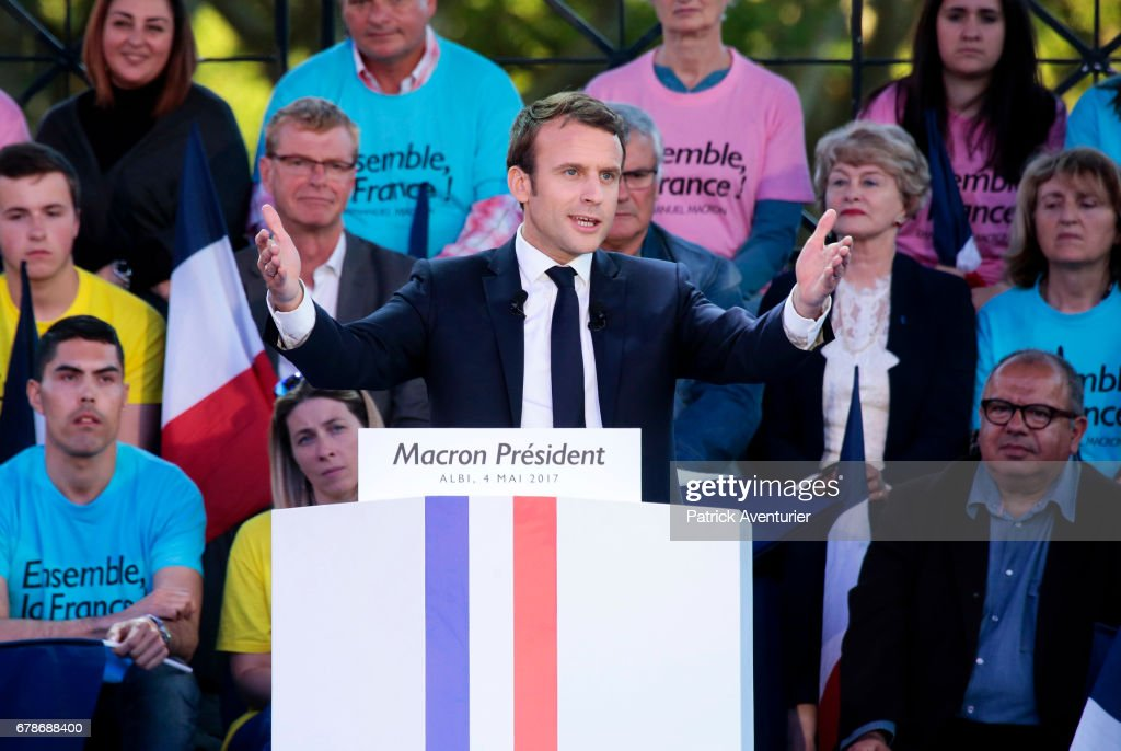 Presidential Candidate Emmanuel Macron Holds A Rally Meeting In Albi : News Photo