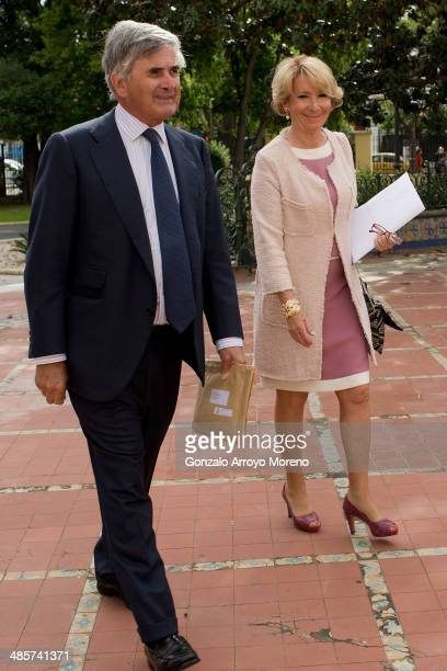 President of the Popuar Party in Madrid Esperanza Aguirre arrives at Lope de Vega Theatre with her husband Fernando Ramirez de Haro after the April's...