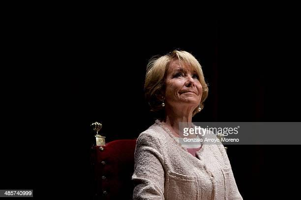 President of the Popuar Party in Madrid Esperanza Aguirre looks on sitted on the stage prior to give the April's Bullfighting Fair opening speech at...