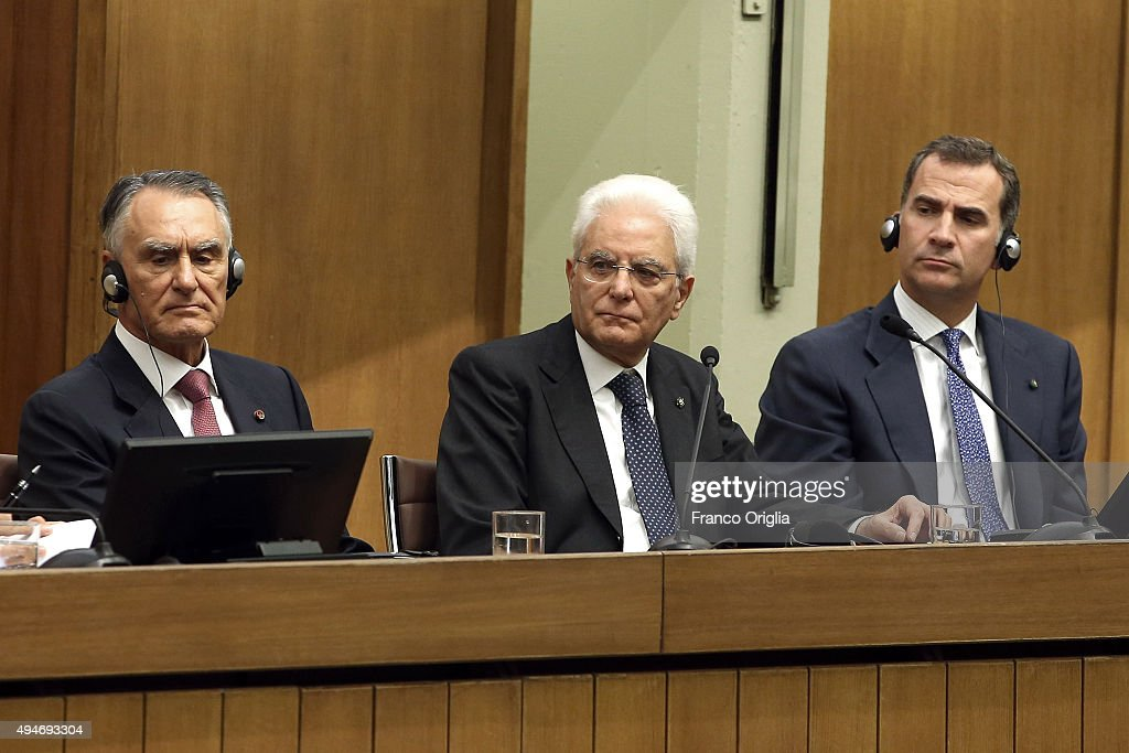 President of the Portuguese Republic Anibal Cavaco Silva, Italian President Sergio Mattarella and King Felipe VI of Spain attend the 10th COTEC Symposium meeting at the Consiglio Nazionale delle Ricerche on October 28, 2015 in Rome, Italy.
