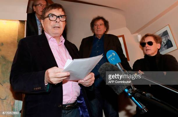 President of the Prix Medicis book award jury Michel Braudeau announces the winners of this year's Prix Medicis next to jury member French writer...