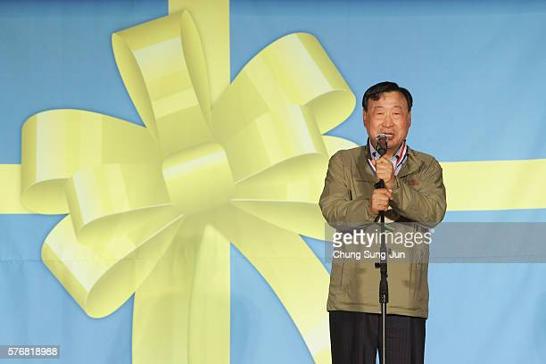 President of the PyeongChang Organizing Committee for the 2018 Olympic and Paralympic Winter Games Lee HeeBeom speaks during the press event to...