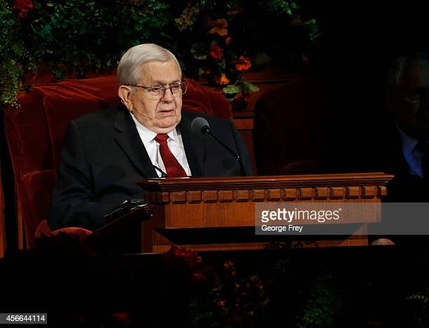 President of the Quorum of the Twelve Apostles Boyd Packer gives a talk from his chair at the 184th Semiannual General Conference of the Church of...