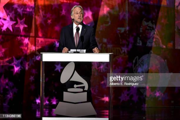 President of The Recording Academy Neil Portnow speaks onstage at AllStar Lineup Pays Tribute At 'Aretha A GRAMMYCelebration For The Queen Of Soul...