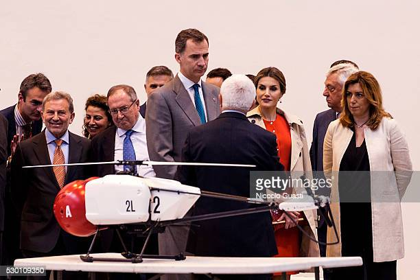 President of the regional Government of Andalucia Susana Diaz Queen Letizia and King Felipe VI of Spain attend the inauguration of Aerospace...