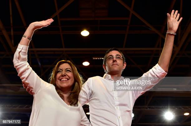 President of the Regional Government of Andalusia and PSOE member Susana Diaz and Eduardo Madina PSOE's deputy gesture during an event to announce...
