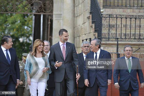 President of the regional government of Andalusia Susana Diaz King Felipe VI of Spain Vice of Grand Master of The Real Maestranza Javier Benjumea...
