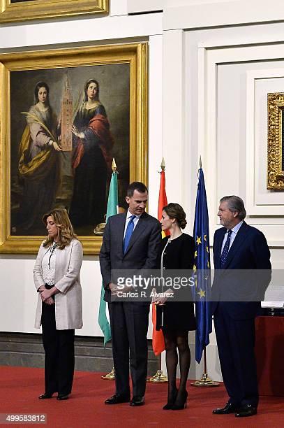 President of the regional government of Andalusia Susana Diaz King Felipe VI of Spain Queen Letizia of Spain and Culture minister Inigo Mendez de...