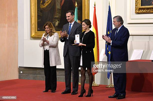 President of the regional government of Andalusia Susana Diaz King Felipe VI of Spain Queen Letizia of Spain and Culture minister Inigo Mendez de...