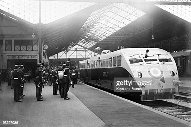 President of the Republic Albert Lebrun goes from the SaintLazare station to Cherbourg for the inauguration of a maritime station aboard a new...