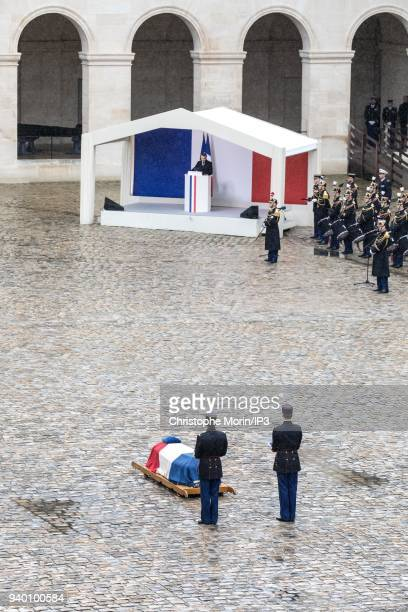 President of the Republic Emmanuel Macron delivers his speech during the national tribute to Colonel Arnaud Beltrame at Hotel des Invalides on March...