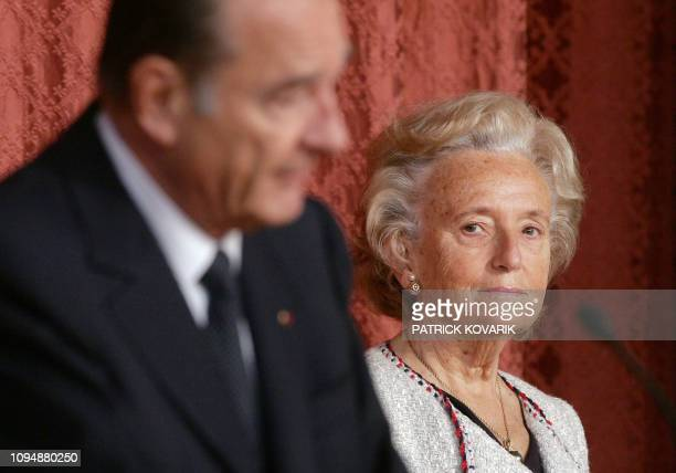 President of the Republic Jacques Chirac delivers a speech in the presence of his wife Bernadette May 05 2006 in the hall of the Palais de l'Elysee...