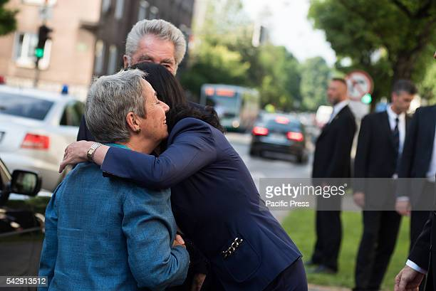 President of the Republic of Austria Heinz Fischer and his wife greeted by President of the Republic of Slovenia Borut Pahor's wife Tanja Pecar...
